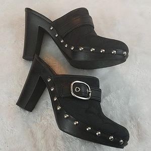 Coach Shoes - Coach 'Willow' blk size 8 monogrammed clog